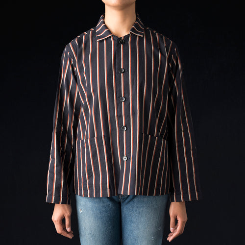 Regimental Stripe Shirt Jacket in Navy & Red