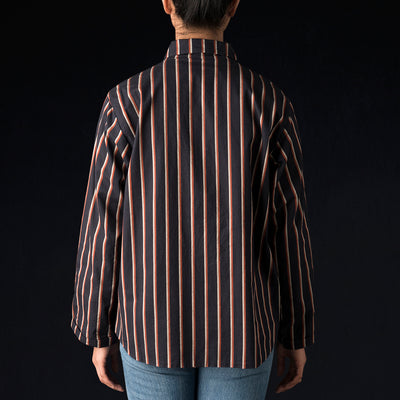 Chimala - Regimental Stripe Shirt Jacket in Navy & Red