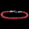 Caputo & Co. - Hand Braided Waxed Cord Bracelet in Burgundy & Silver