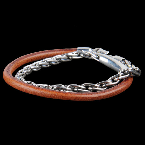 Chunky Silver Chain & Leather Bracelet in Tobacco