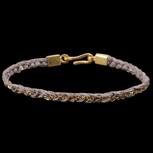 Hand Braided Chain & Cord Bracelet in Brown & Gold Over Silver