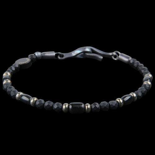 Warrior Bracelet in Black Onyx Pyrite & Obsidian