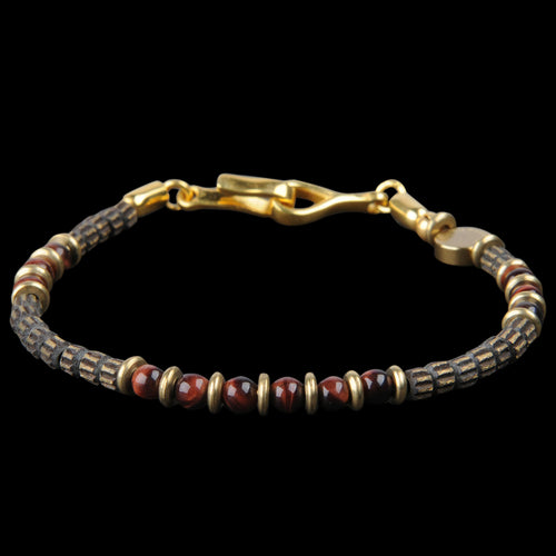 Energy Signature Bracelet in Red Tiger Eye & 22k Gold Plated Brass