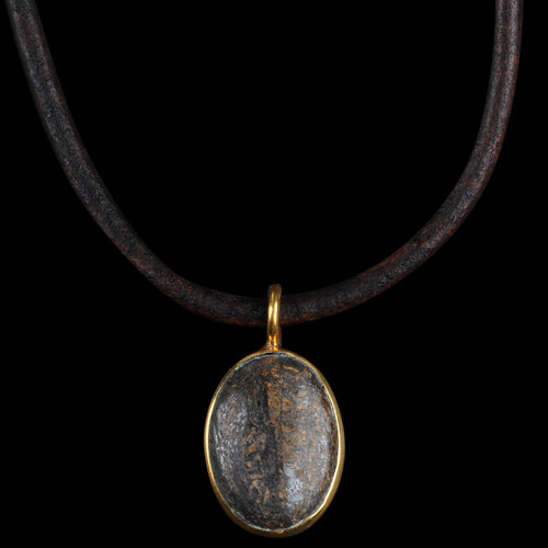 Gemstone Leather Necklace in Bronzite & 22k Gold Plated Brass