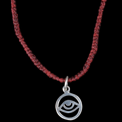 Evil Eye Hand Wrapped Necklace in Burgundy & Silver