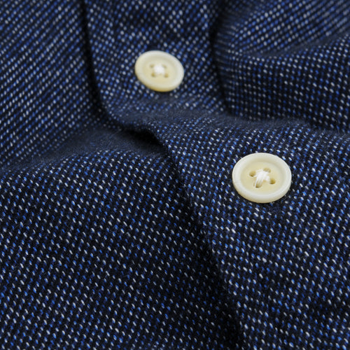 Brushed Flecked Flannel LS Shirt in Navy