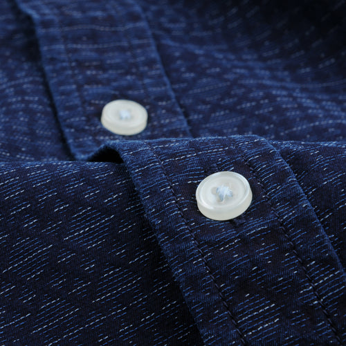 Jacquard LS Shirt in Indigo