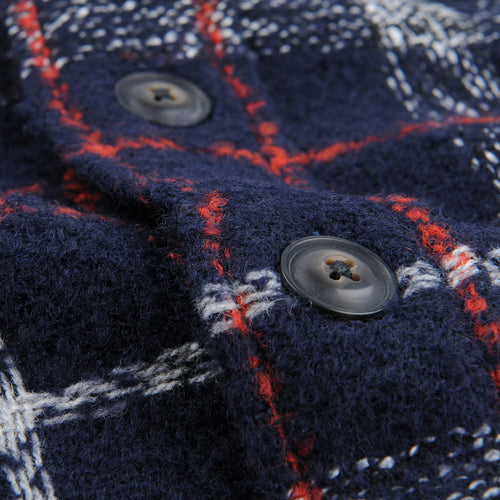 Plaid Wool Overshirt in Navy & Red