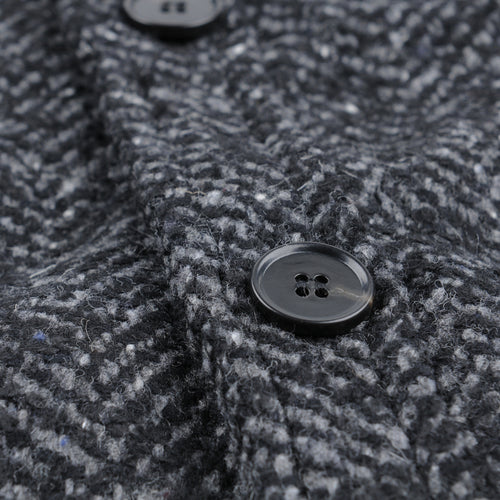 Italian Herringbone Wool Jacket in Charcoal