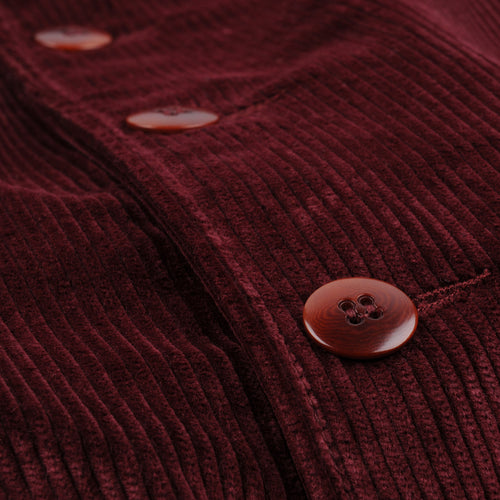 Corduroy Button Front Bomber in Garnet