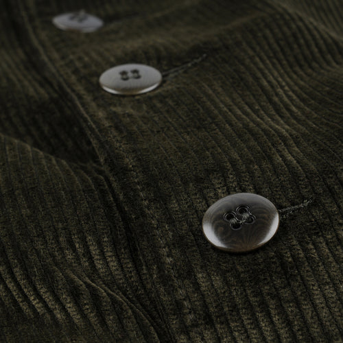 Corduroy Button Front Bomber in Moss