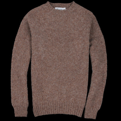 Harley of Scotland for Unionmade - Shetland Shaggy Crew Neck Sweater in Nutmeg