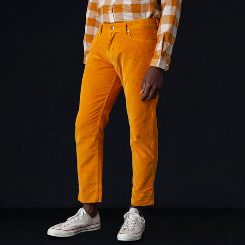 Garment Dyed Soft Corduroy Icarus Jean in Ocra