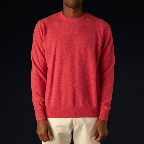 Washed Wool Crewneck Sweater in Rouge