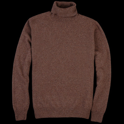 President's - Washed Wool Turtleneck Sweater in Mahogany