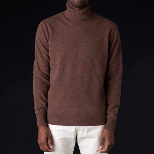 Washed Wool Turtleneck Sweater in Mahogany
