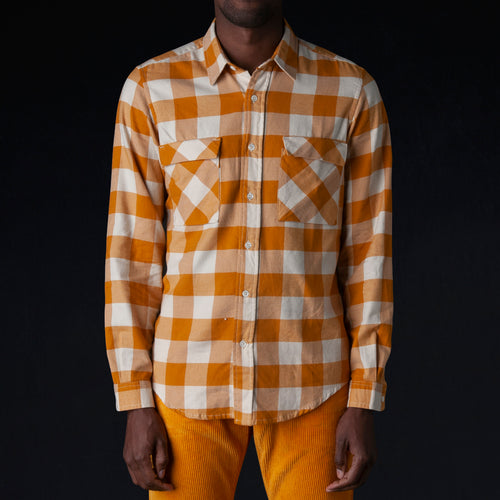 Washed Soft Flanella Check Vespa Shirt in Curry & Off White