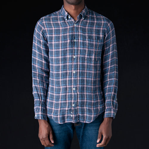 Washed Linen Flannel Check Chatham Shirt in Pink