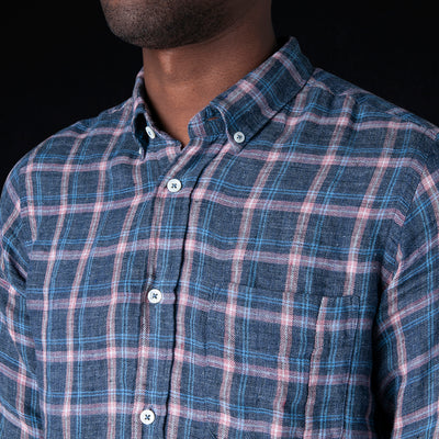 President's - Washed Linen Flannel Check Chatham Shirt in Pink