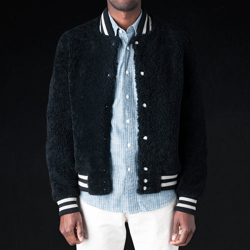 Shearling University Jacket in Blue