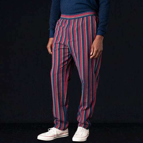 Washed Stripe Alfredo Trouser in Red