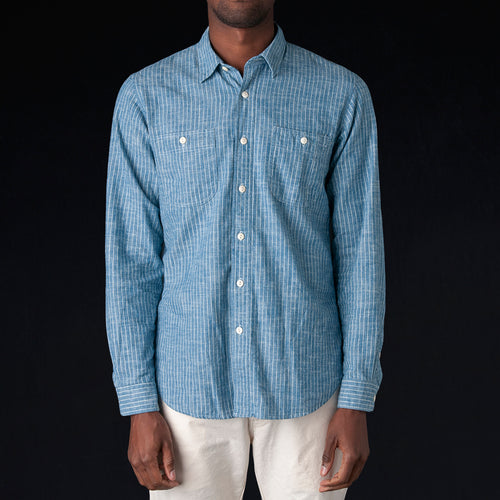 Japanese Selvedge Flannel Stripe Kansas Shirt in Indigo