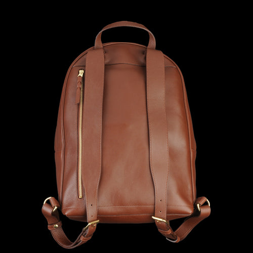 Leather Zipper Backpack in Chestnut