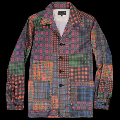 Beams+ - Patchwork Print Camp Collar Jacket in Red
