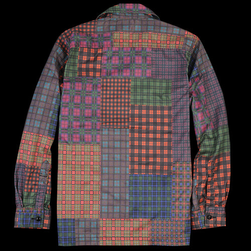 Patchwork Print Camp Collar Jacket in Red