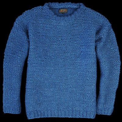 Beams+ - Hand Knit Crew Neck Sweater in Indigo