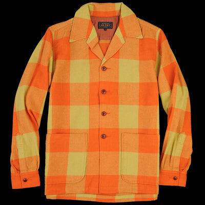 Beams+ - Block Check Camp Collar Jacket in Orange & Yellow