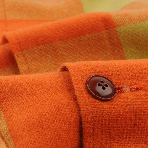 Block Check Camp Collar Jacket in Orange & Yellow
