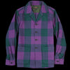 Beams+ - Block Check Camp Collar Jacket in Purple & Green