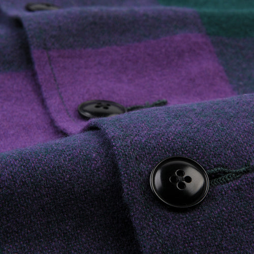 Block Check Camp Collar Jacket in Purple & Green