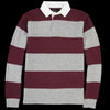 Beams+ - Knit Rugby Shirt in Grey & Burgundy