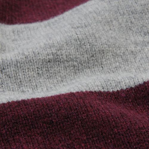 Knit Rugby Shirt in Grey & Burgundy