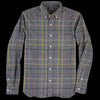 Beams+ - Pin Check Shaggy Button Down Shirt in Grey