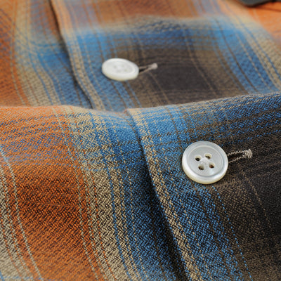 Beams+ - Ombre Check Open Collar Shirt in Orange & Brown
