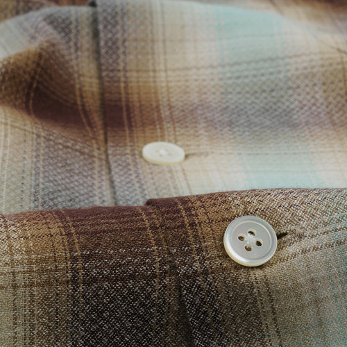 Ombre Check Open Collar Shirt in Mint & Brown