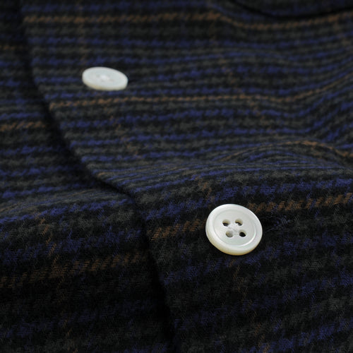 Check Open Collar Shirt in Navy Gun Club