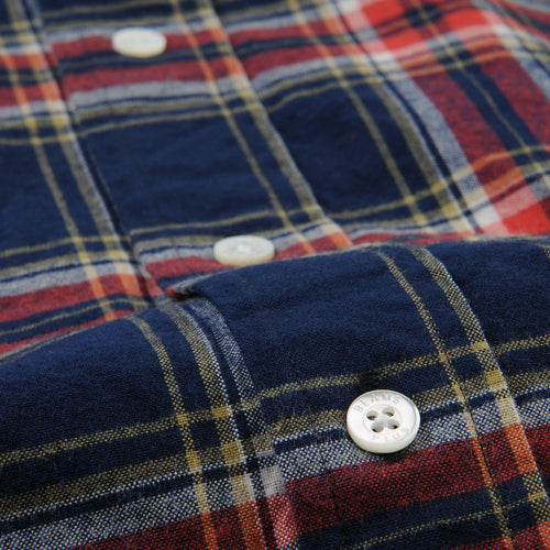 Brushed Check Button Down Shirt in Navy