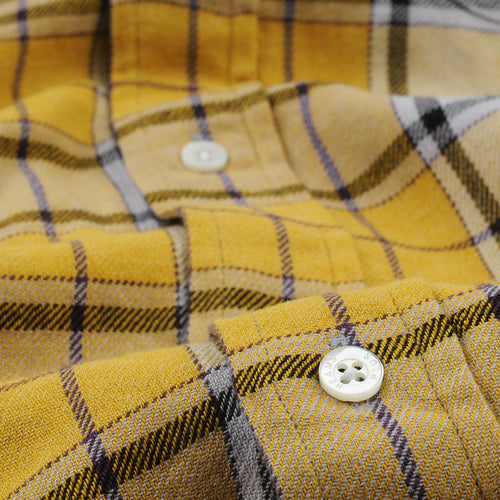 Grandrelle Yarn Brushed Check Button Down Shirt in Yellow