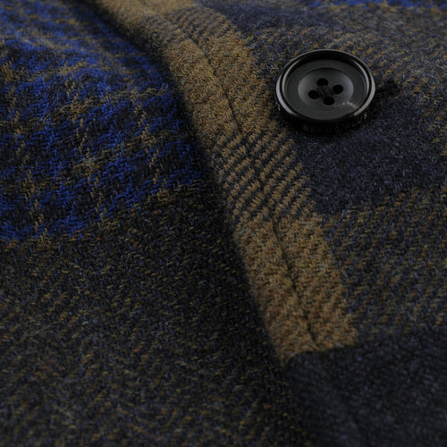 Tweed Jacquard Three Button Jacket in Navy