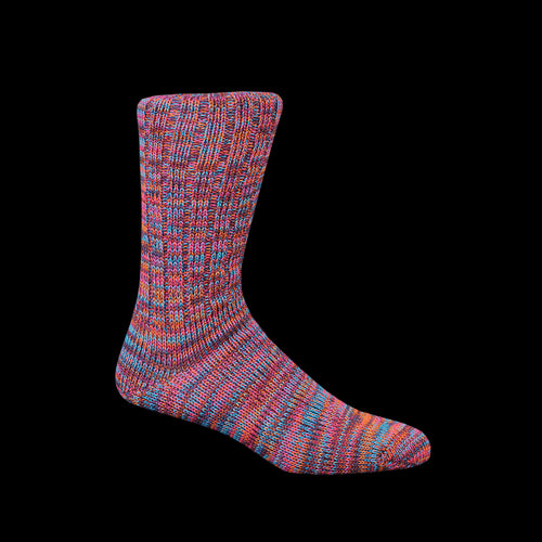 5 Color Mix Crew Sock in Orange