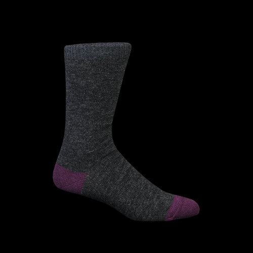 Wool Cashmere Color Crew Sock in Charcoal