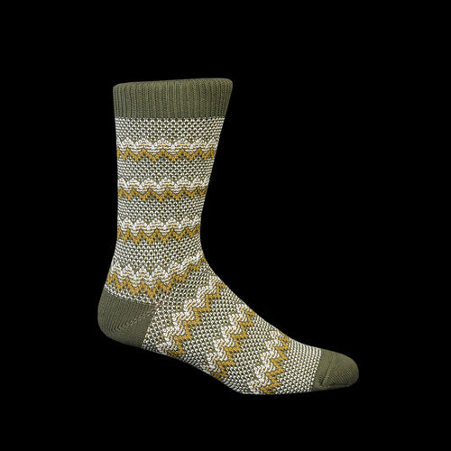 Zigzag Links Crew Sock in Olive