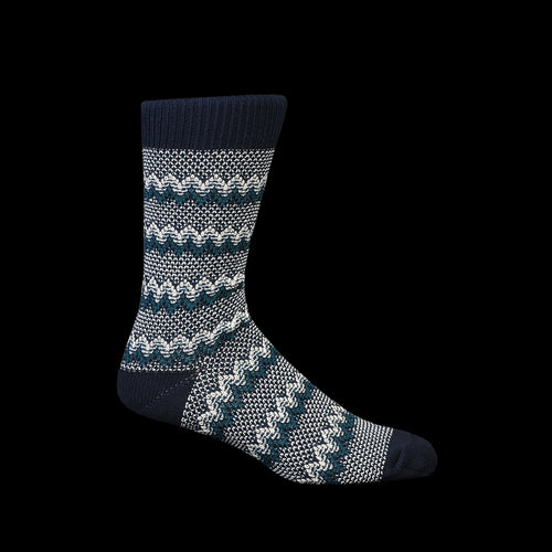 Zigzag Links Crew Sock in Navy