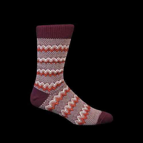 Zigzag Links Crew Sock in Wine