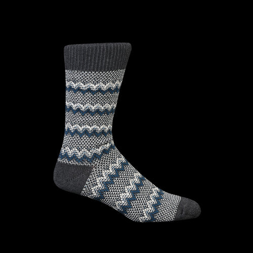 Zigzag Links Crew Sock in Charcoal