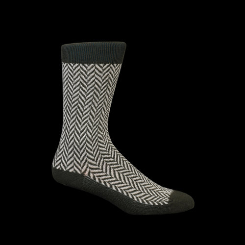 Wool Herringbone Crew Sock in Khaki